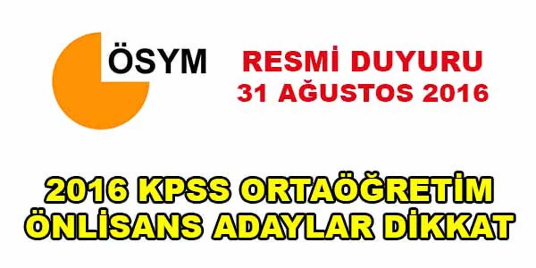 ÖSYM KPSS 2016 Resmi Duyurusu