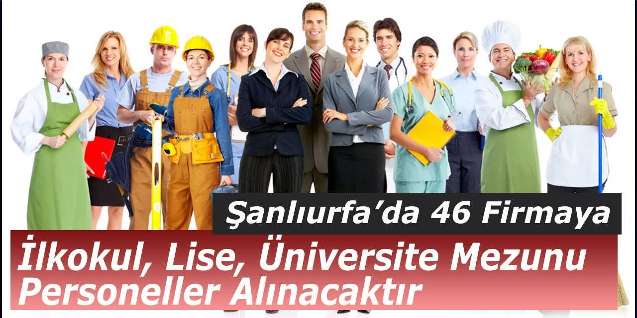 Şanlıurfa'da 46 Firmaya İlkokul, Lise, Üniversite Mezunu Personeller Alınacaktır