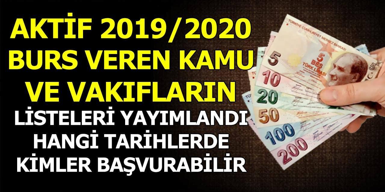 Aktif 2019/2020 Burs Veren Kamu Kurumları ve Vakıf Listeleri Yayımlandı