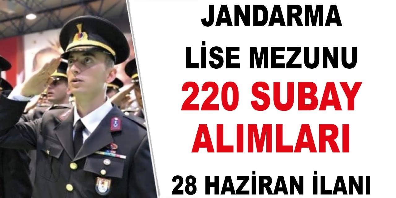 Jandarma Lise Mezun 220 Subay Alımı Kılavuzu Yayımladı! Subay Alımı Başvuru Şartları