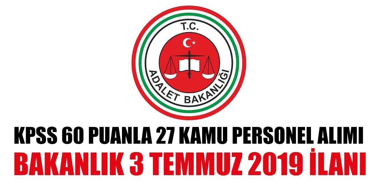 27 Kamu Personeli Alımı KPSS 60 Puanla Adalet Bakanlığı Alacak