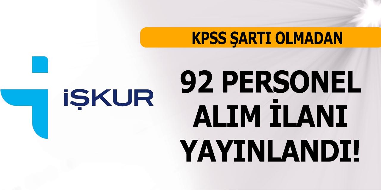 İŞKUR KPSS Şartsız 92 Hizmetli Garson Kasiyer Alımı Yapıyor