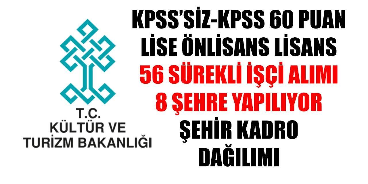 56 Sürekli İşçi Alımı KPSS'siz ve KPSS 60 Puanla Kültür Bakanlığı 8 Şehre Yapıyor