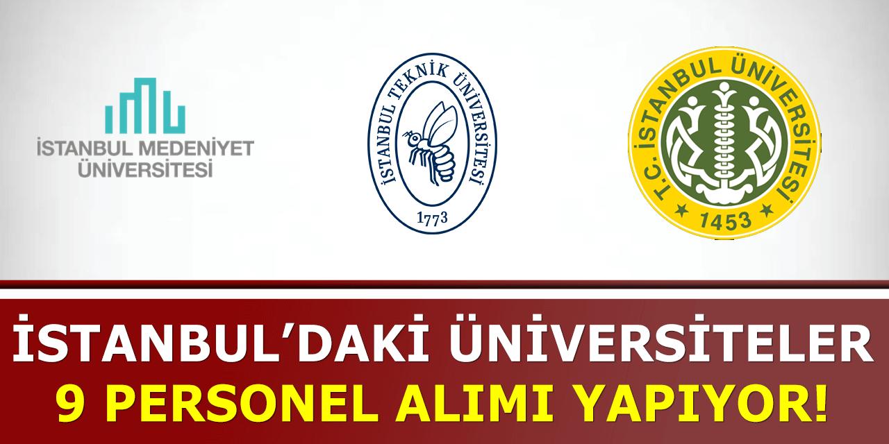 İstanbul 4 Farklı Üniversite En Az Önlisans 9 Personel Alımı Yapıyor