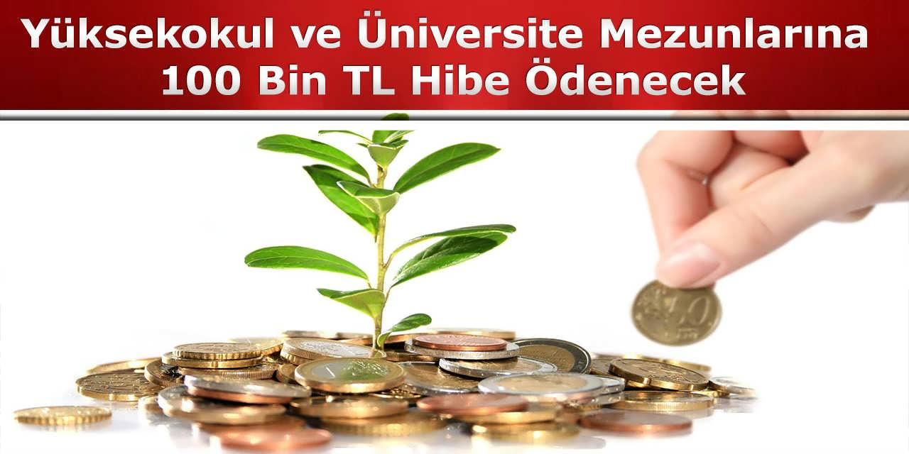 Yüksekokul ve Üniversite Mezunlarına 100 Bin TL Hibe Ödenecek