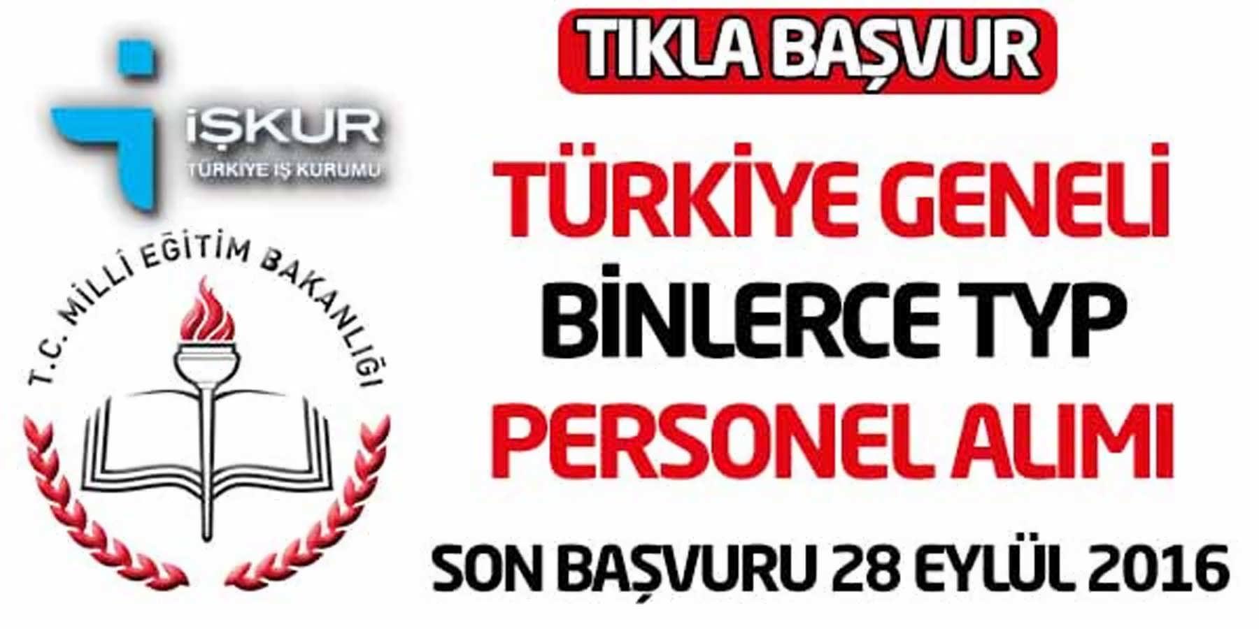 MEB Türkiye Geneli TYP Personel Alımı Başvurusu