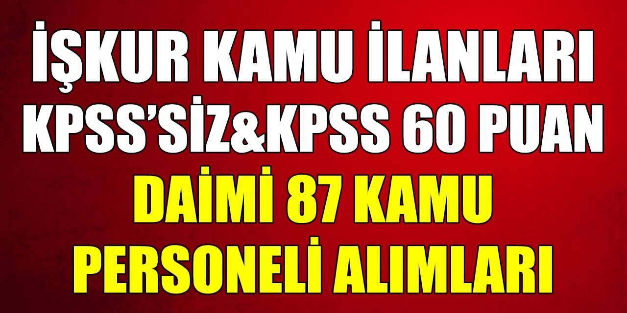 KPSS' siz ve KPSS 60 Puanla Daimi 87 Kamu Personeli Alımı İŞKUR Kamu İlanları