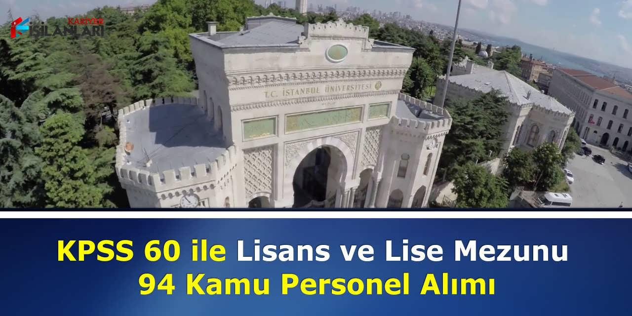 KPSS 60 ile Lisans ve Lise Mezunu 94 Kamu Personel Alımı