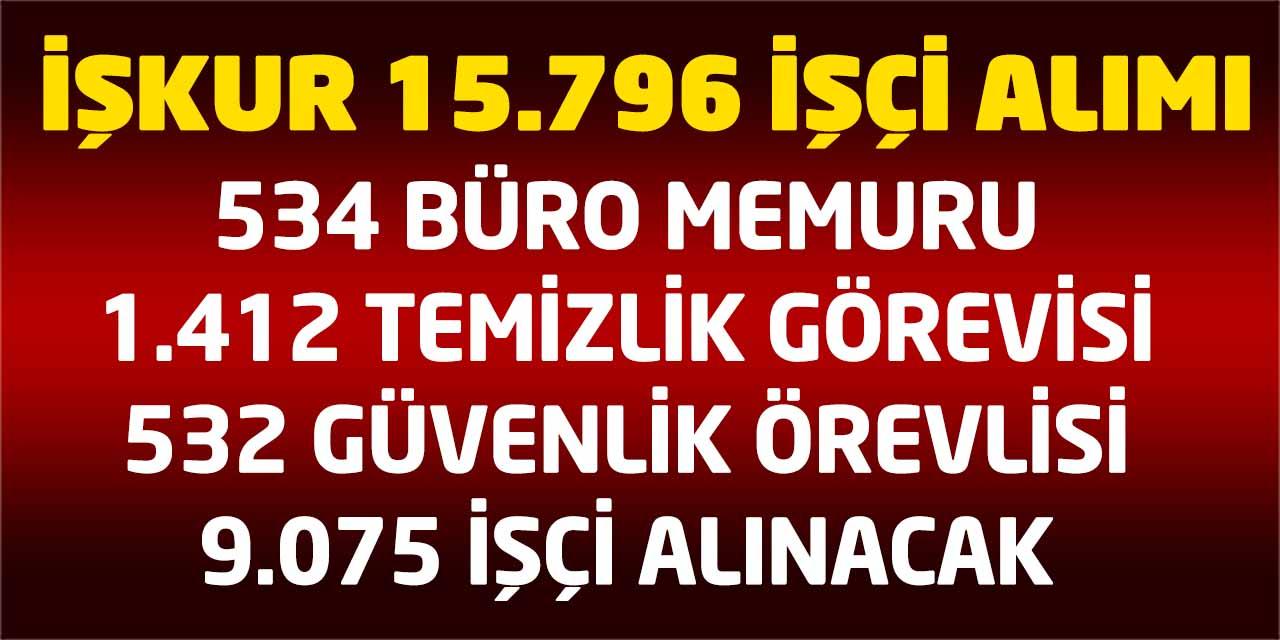 İŞKUR Büro Memuru, Güvenlik, Temizlikçi 15.796 İşçi Alımı