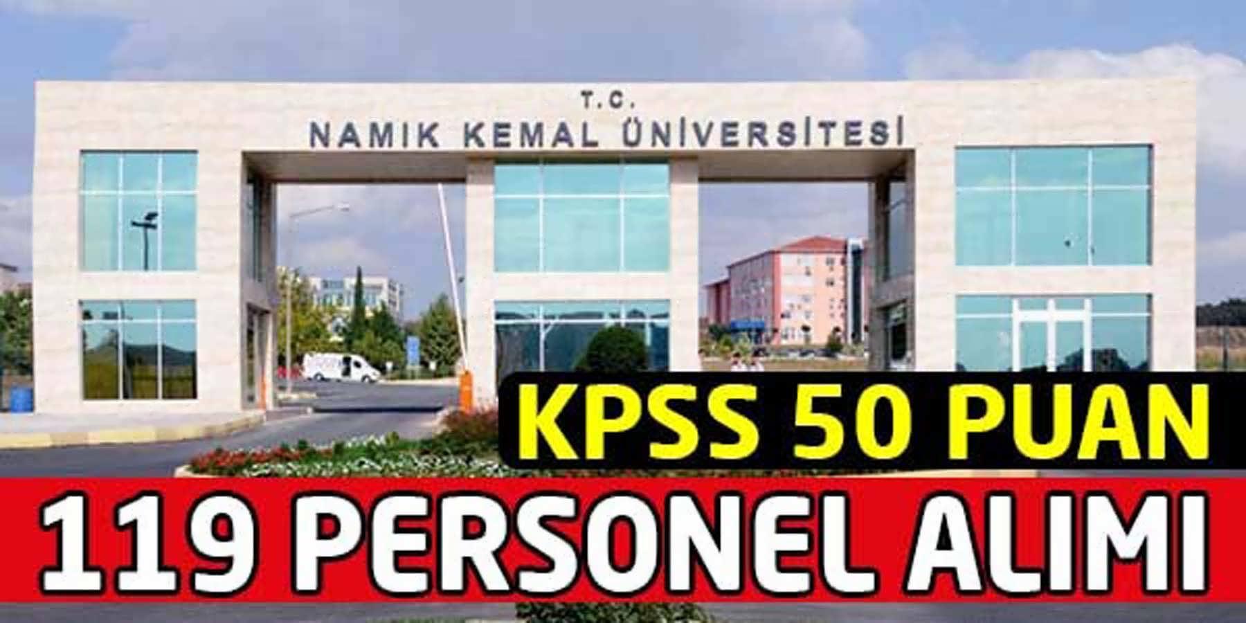 Namık Kemal Üniversitesi 119 Personel Alımı