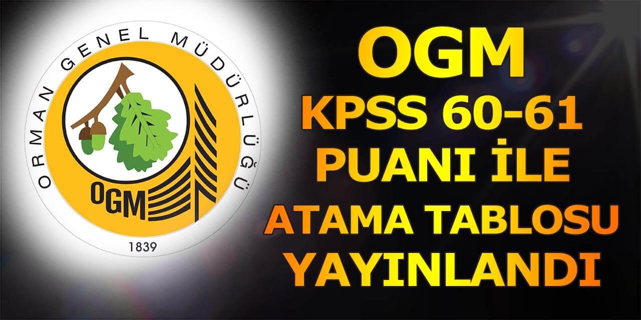 OGM KPSS 60-61 Puan ile Memur ve Mühendis Alımı Tablosu