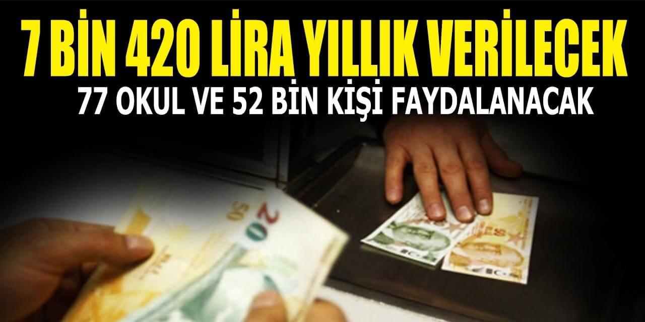 7 Bin 420 Lira, 52 Bin Öğrenciye Yıllık Destek Verilecek