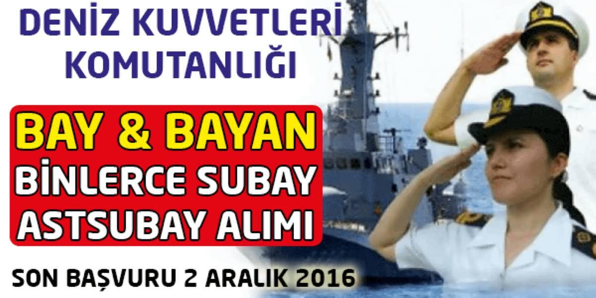 Deniz Kuvvetleri Komutanlığı Bay ve Bayan Subay Astsubay Alımı
