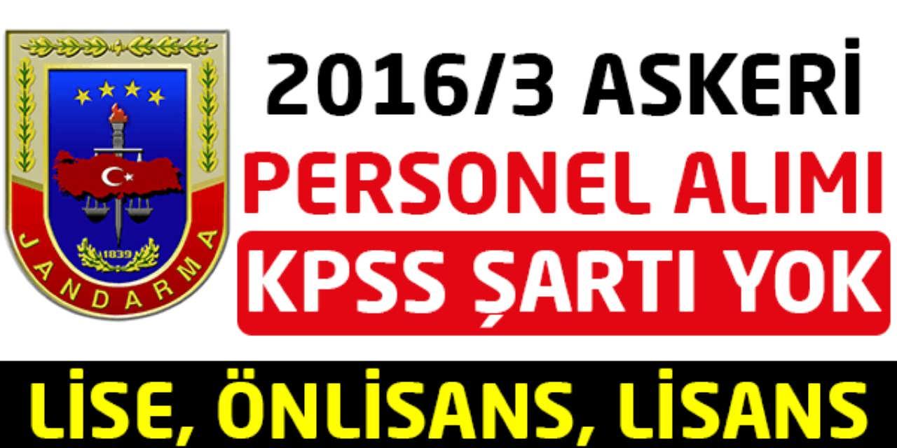JGK 2016 Yılı 3 ncü Dönem Askeri Personel Alımı