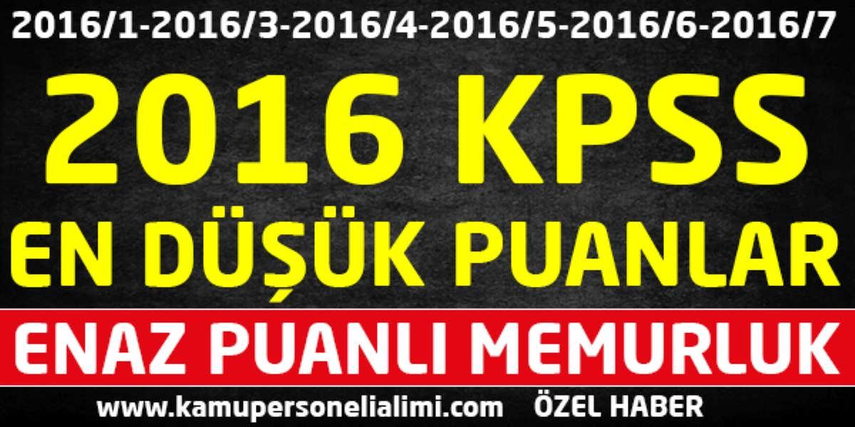 KPSS 2016 En Düşük Puanlı Memurluk Tüm Atamalar