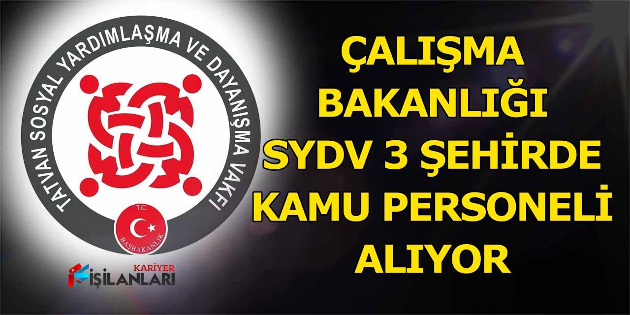 Çalışma Bakanlığı SYDV 3 Şehirde kamu personeli alıyor