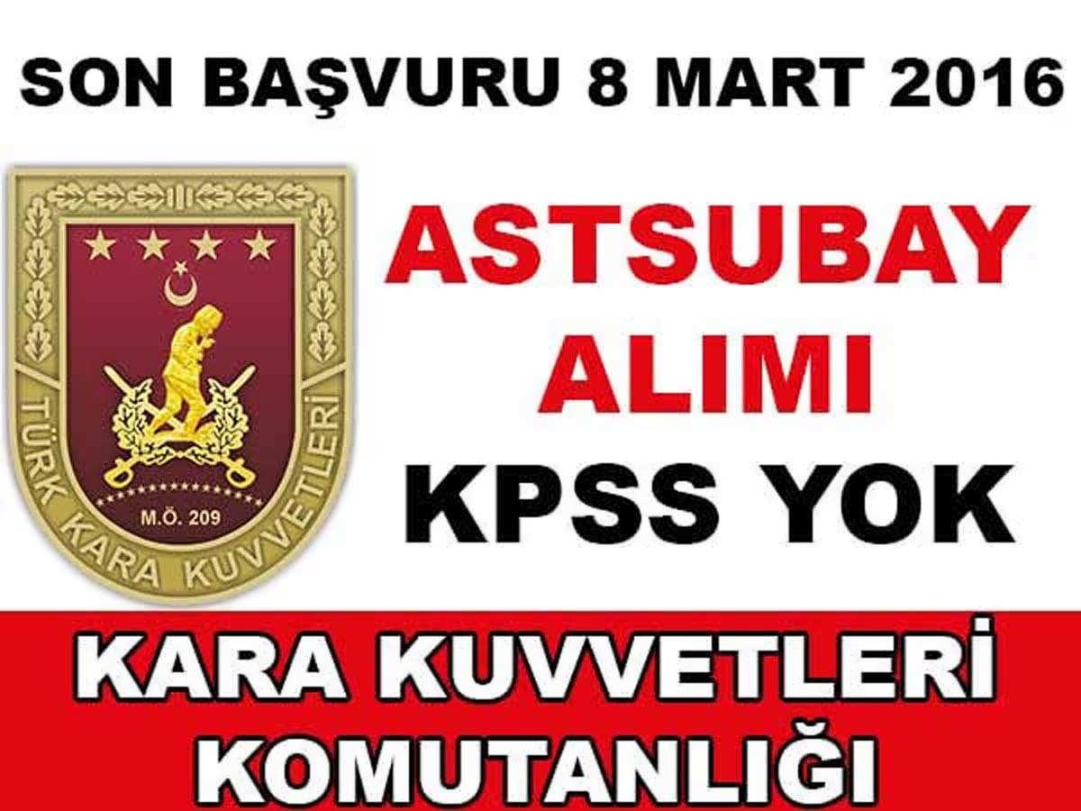 KKK Astsubay Alımı Mart 2016