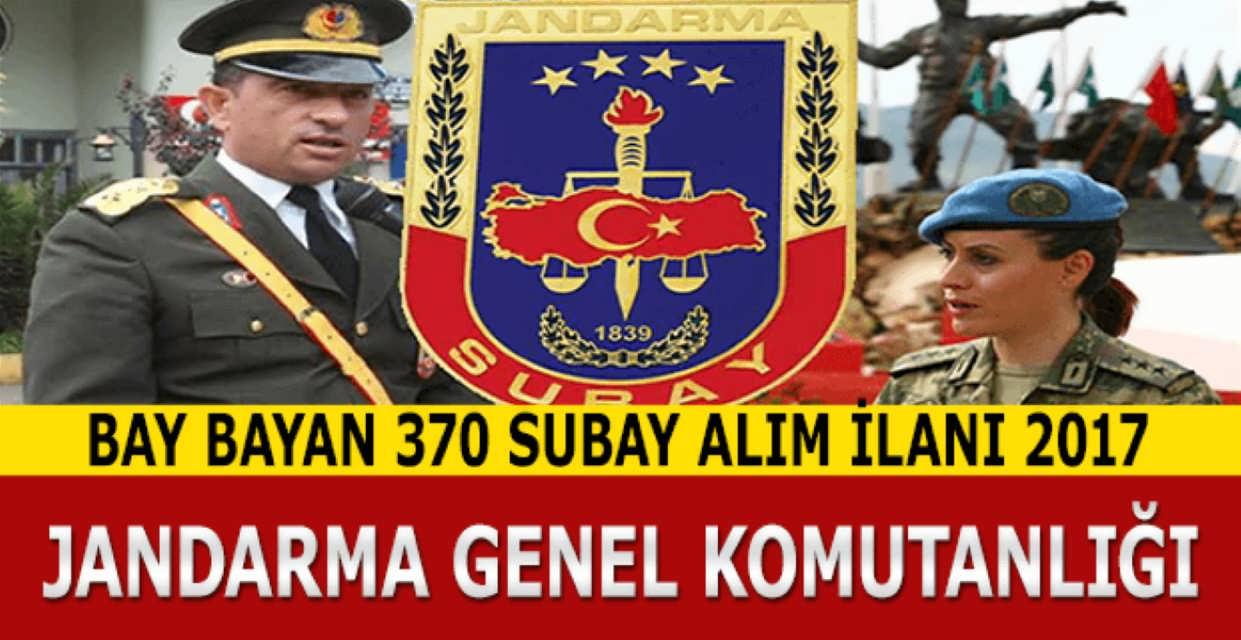 Jandarma Genel Komutanlığı 370 Subay Alım İlanı