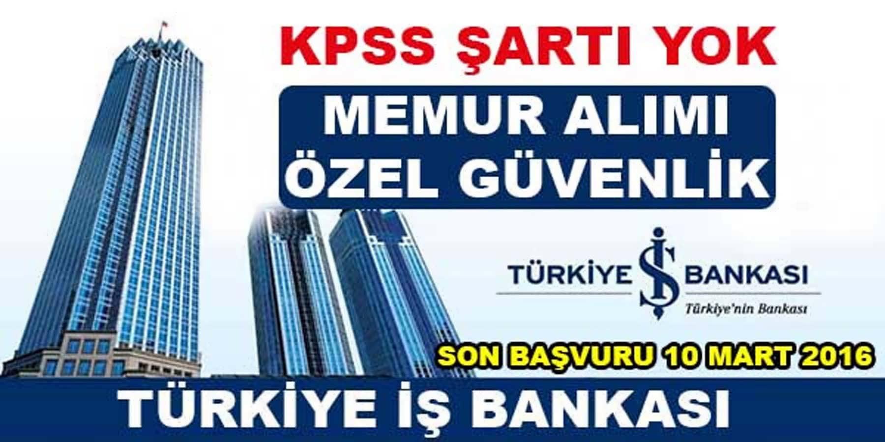 İş Bankası Personel Alımı Şubat 2016