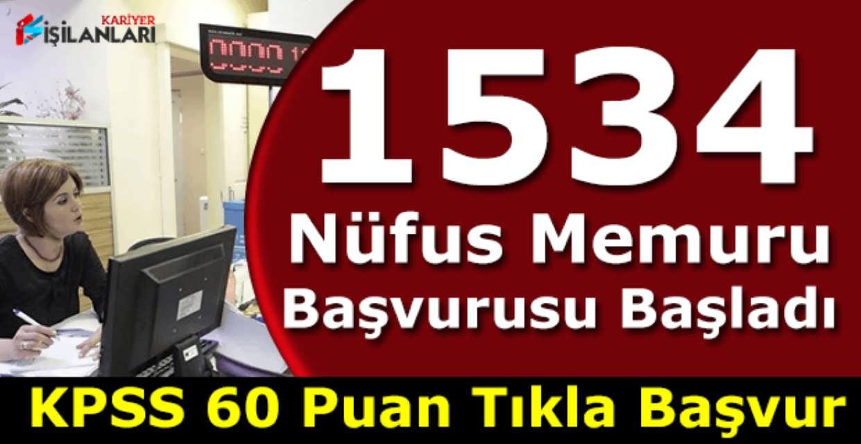 1534 Nüfus Memuru Alımı Hemen Başvur