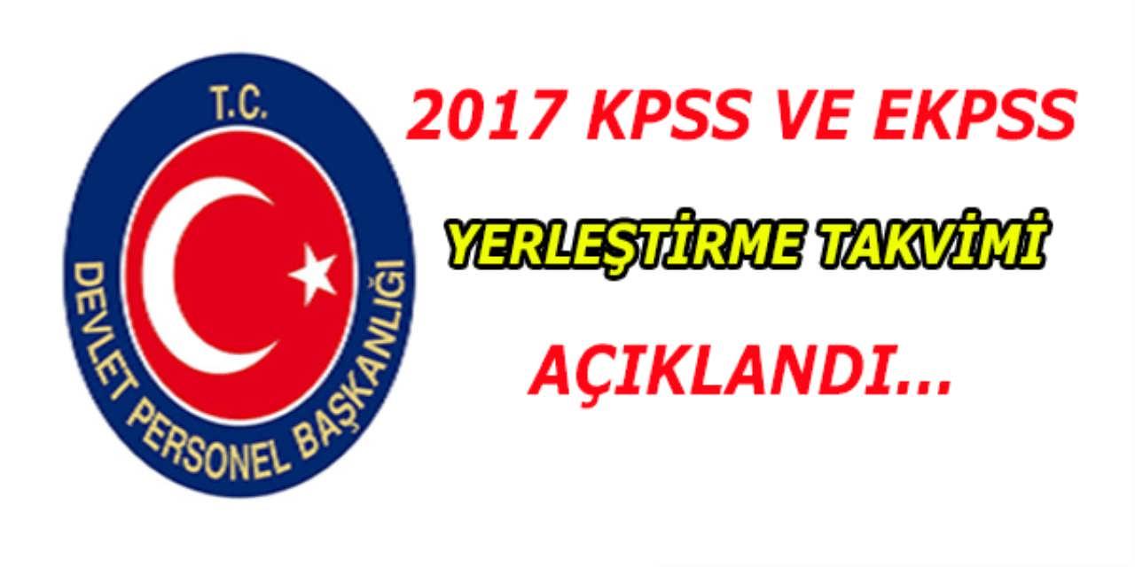 2017 EKPSS ve KPSS Yerleştirme Takvimi