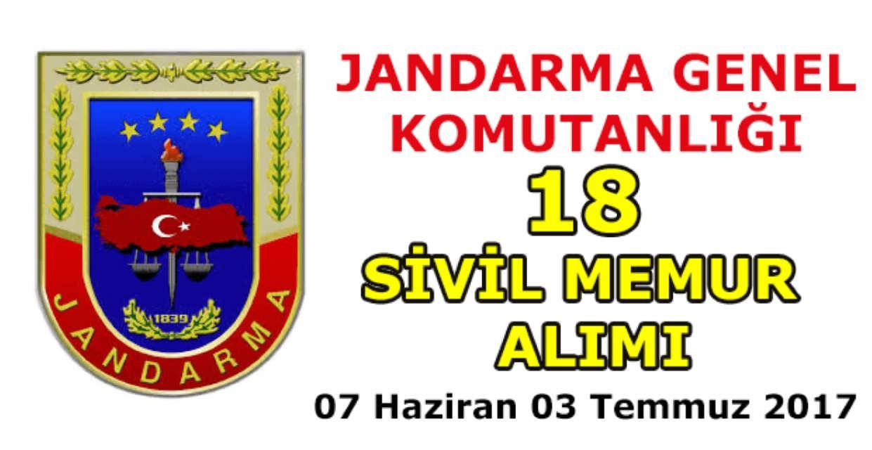 Jandarma Genel Komutanlığı 18 Memur Alımı Haziran 2017