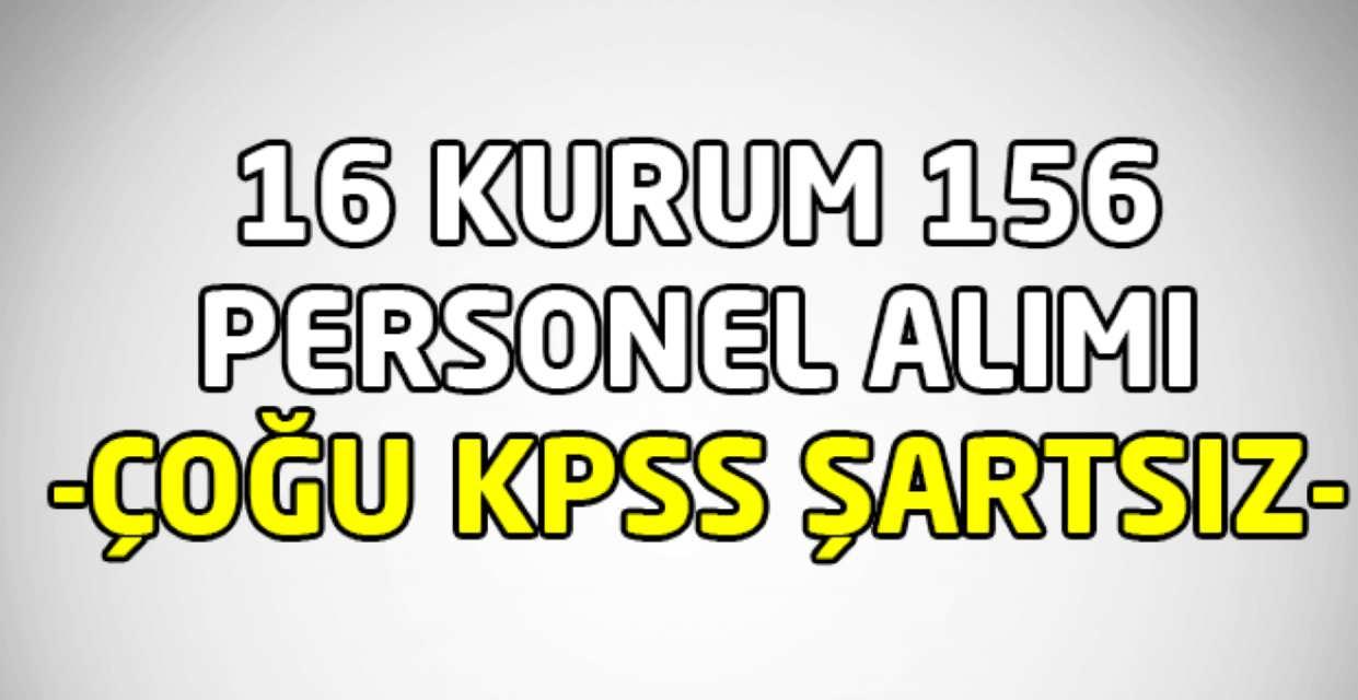 16 Kurum 156 Personel Alımı