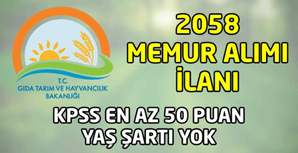 Tarım Bakanlığı 2058 Memur Alımı İlanı Yayınlandı