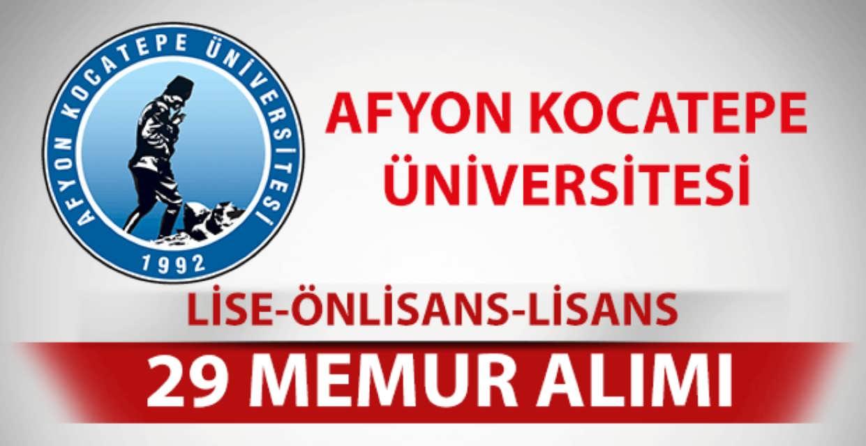 Afyon Kocatepe Üniversitesi 29 Memur Alımı
