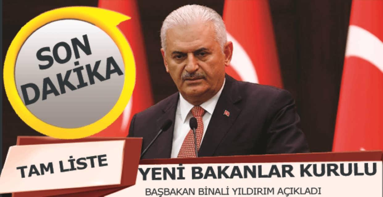 Başbakan Yeni Bakanlar Kurulu'nu Açıkladı