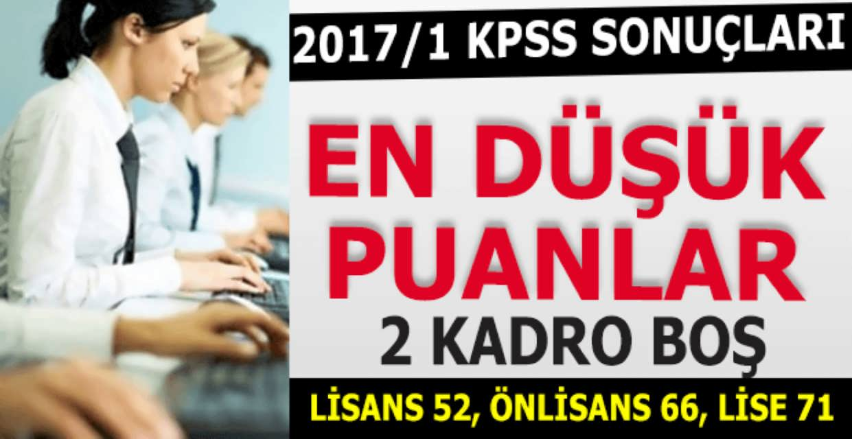 KPSS 2017 En Düşük Memur Atamaları