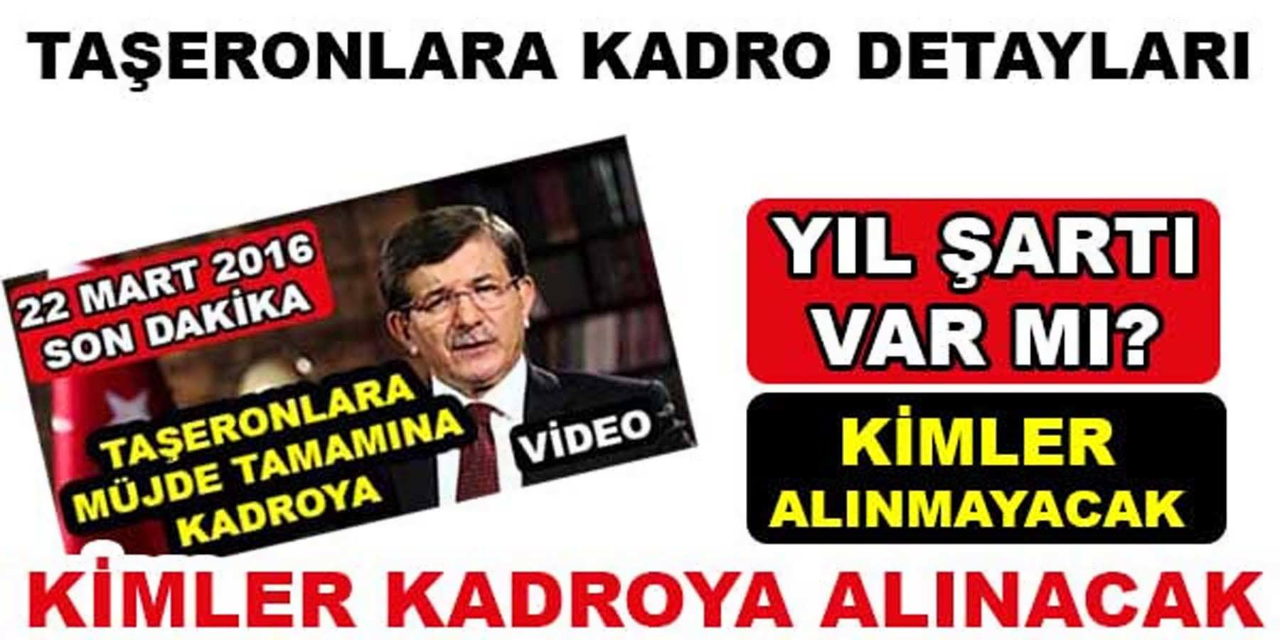 Başbakan Davutoğlu 'nun Açıklaması Sonrasında Hangi Taşeronlar Kadroya Alınacak Şartlar Ne Oldu