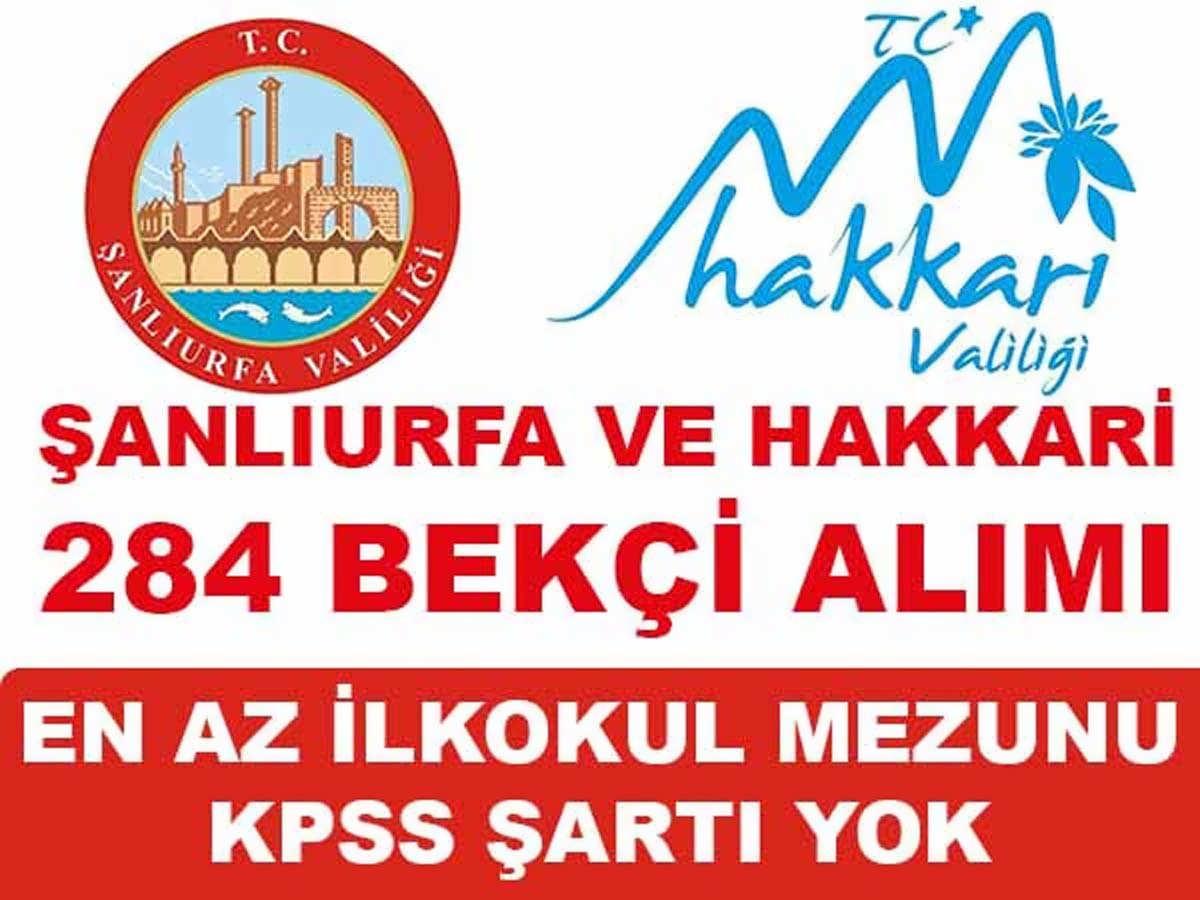 Hakkari Şanlıurfa 284 Bekçi Alımı 2016