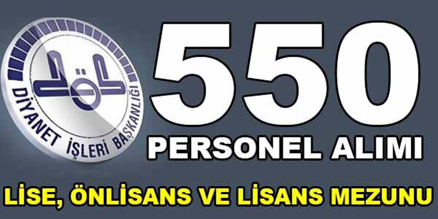 Diyanet İşleri Başkanlığı 550 Personel Alımı