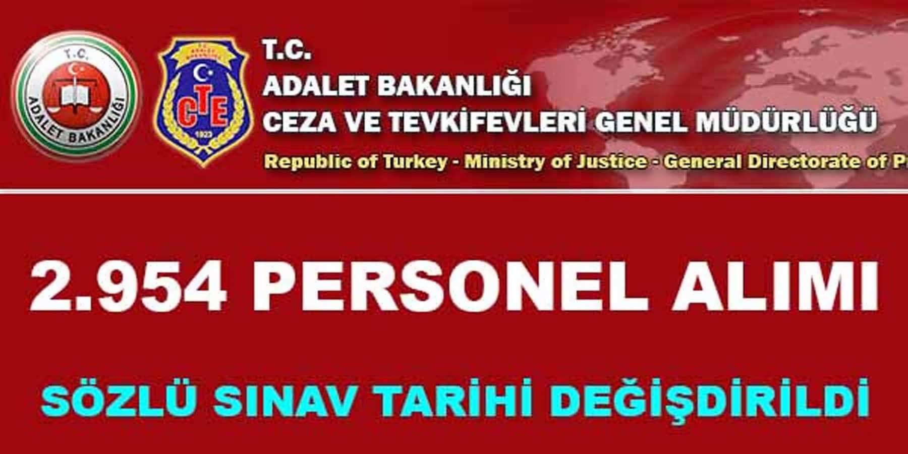 Adalet Bakanlığı 2954 Personel Alımı Sözlü Sınavı Hakkında Duyuru