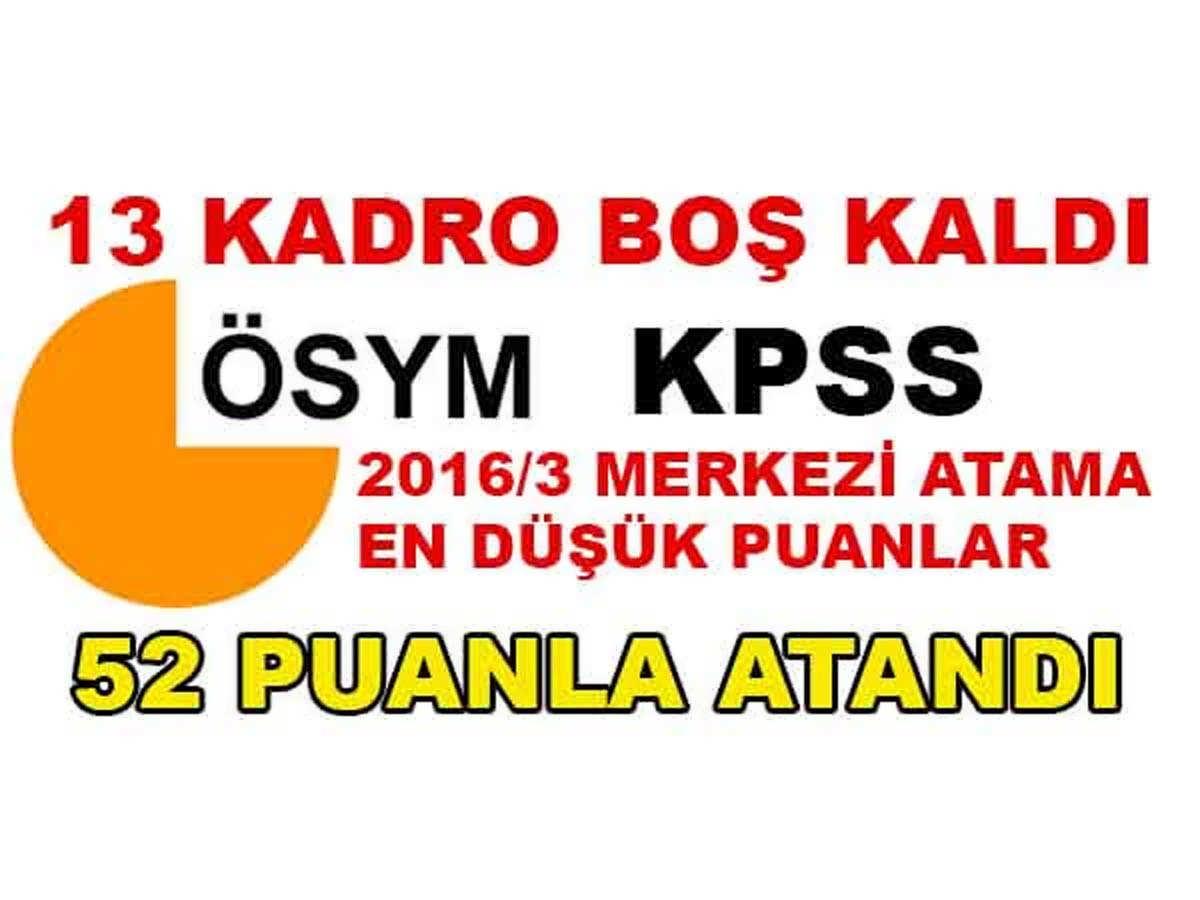KPSS 2016/3 Merkezi Atamalarında 13 Kadro Boş Kaldı