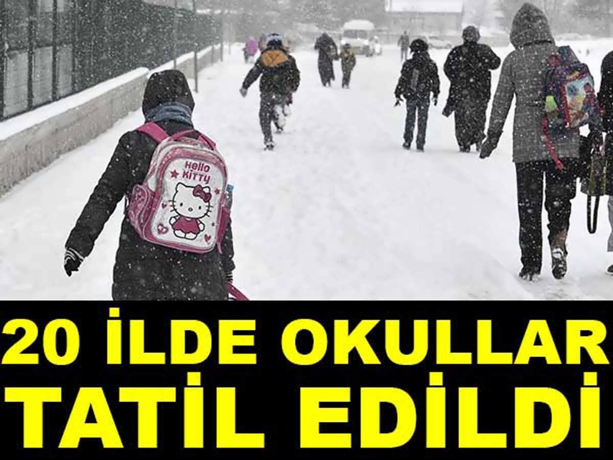 Yarın Okullar Tatil mi Belli Oldu 20 İlde Kar Tatili