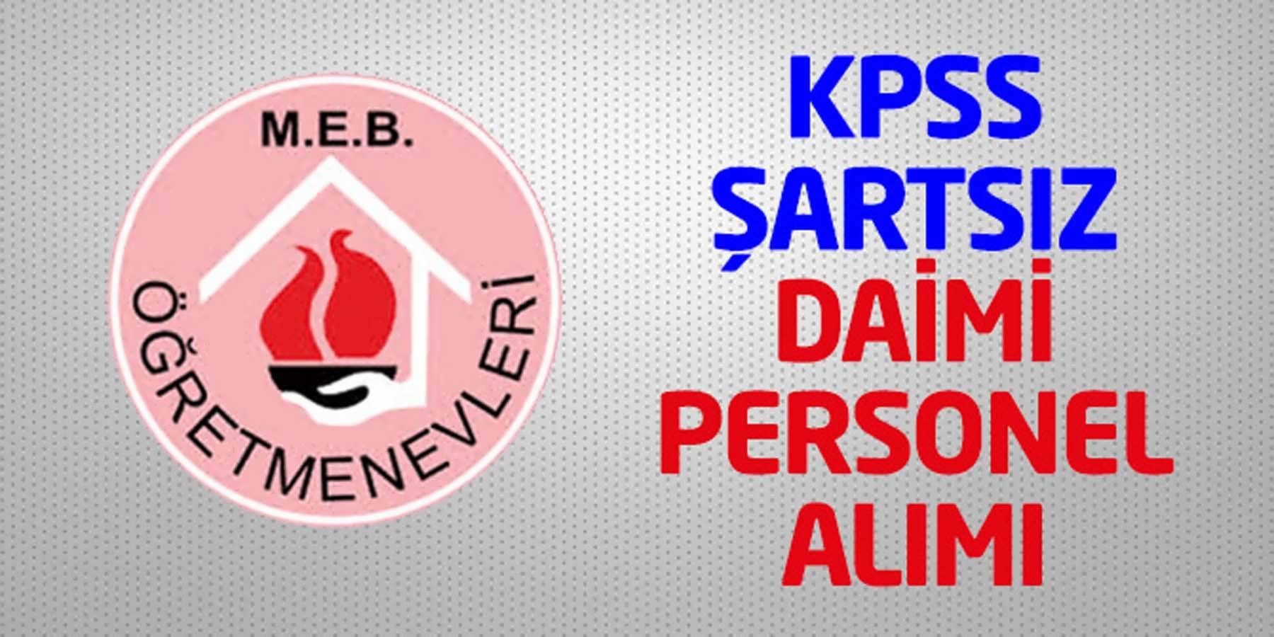 Öğretmenevi ve ASO Müdürlüğü KPSS Şartsız Daimi Personel Alımı