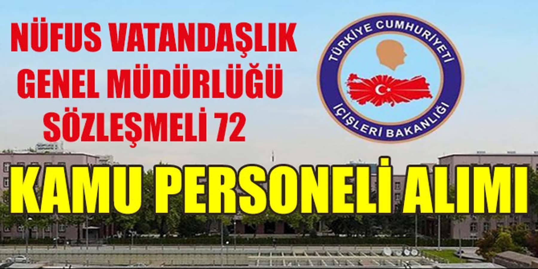 İçişleri Bakanlığı Nüfus Müdürlüğü 72 Kamu Personeli Alımı