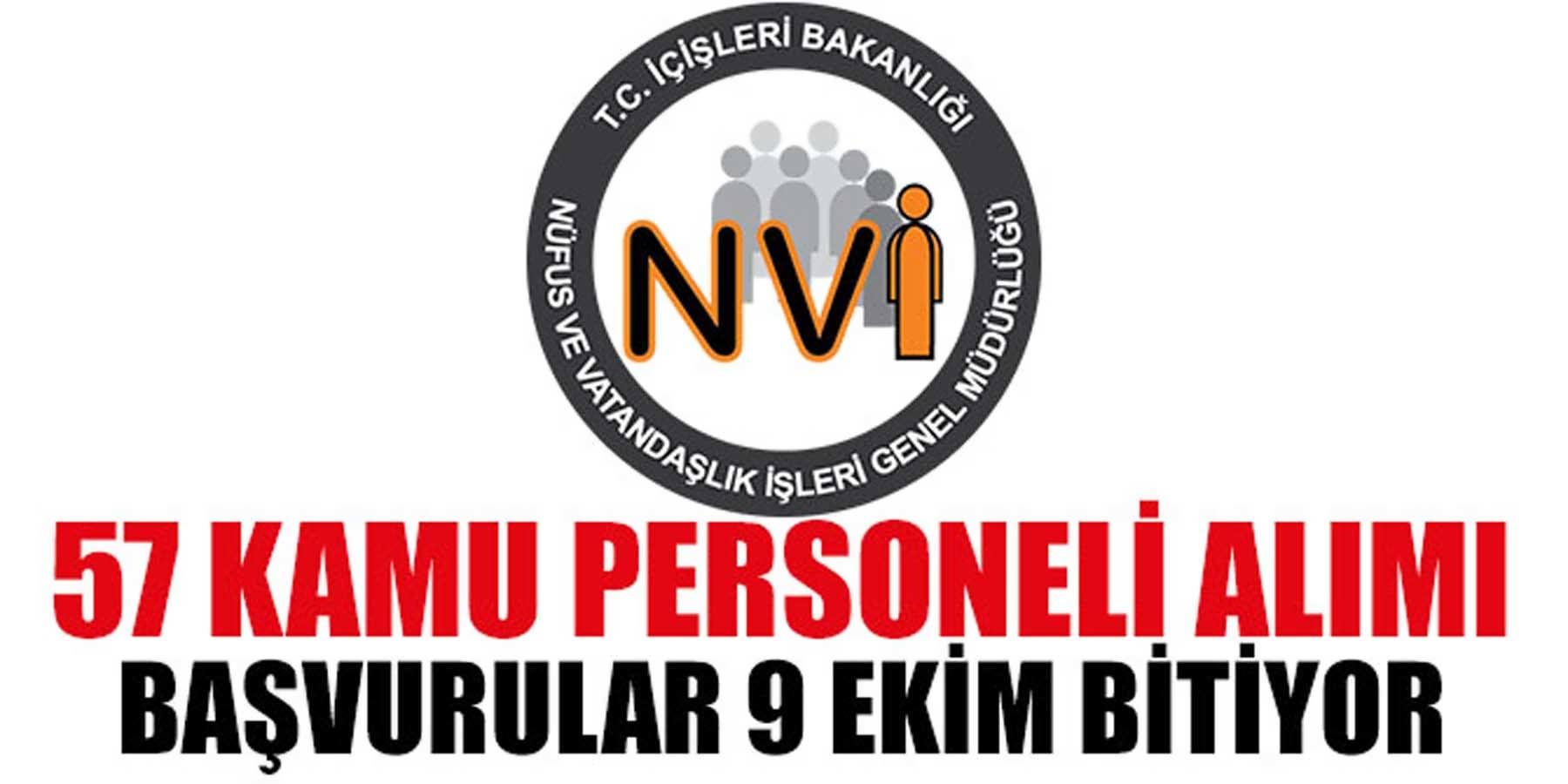 Nüfus Müdürlüğü 57 Kamu Personeli Alımı Son Başvuru 9 Ekim