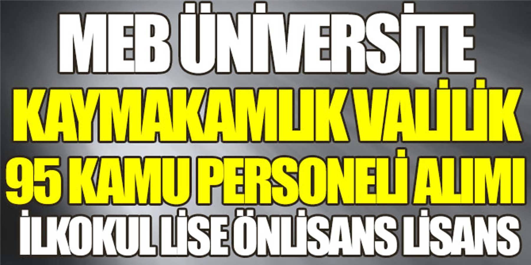 MEB, Valilik, Kaymakamlık ve Üniversite 95 Kamu Personeli Alımı