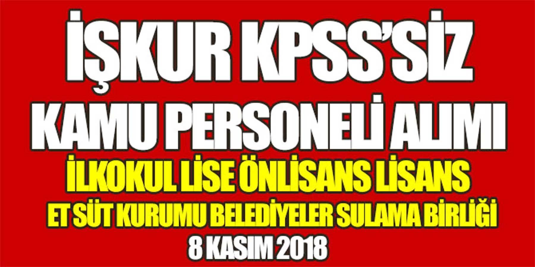 İŞKUR KPSS'Siz 8 Kasım 2018 Kamu Personeli Alımı (Arşiv Sorumlusu)