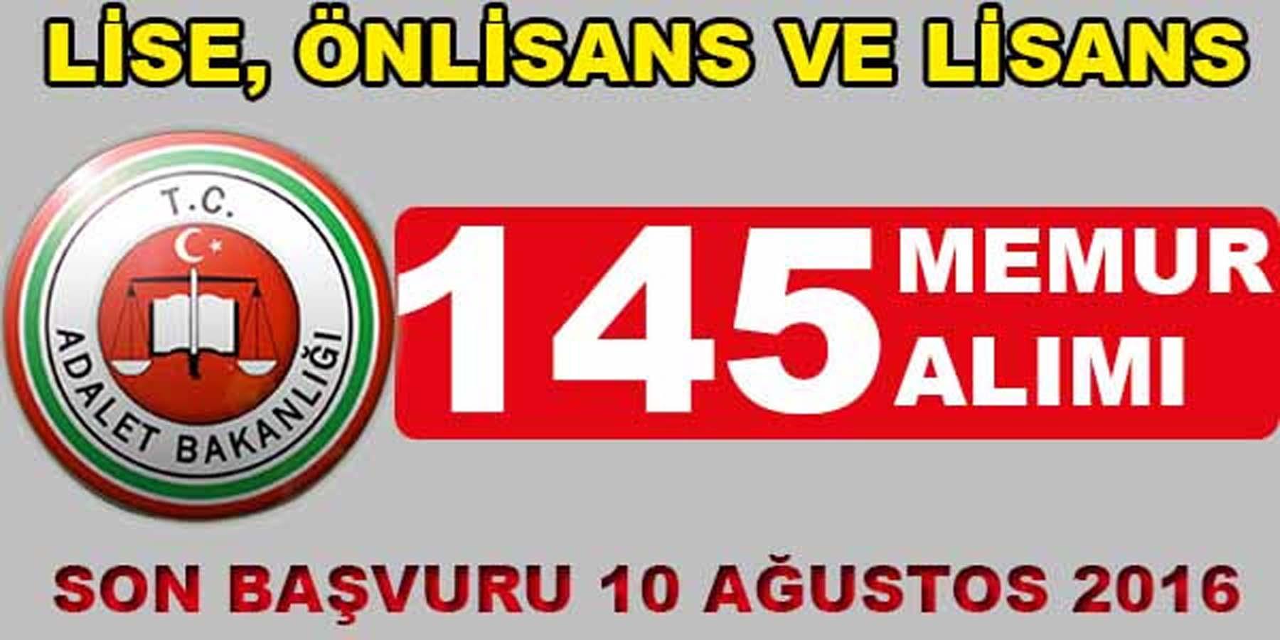 Adalet Bakanlığı 145 Memur Alımı Başvurusu