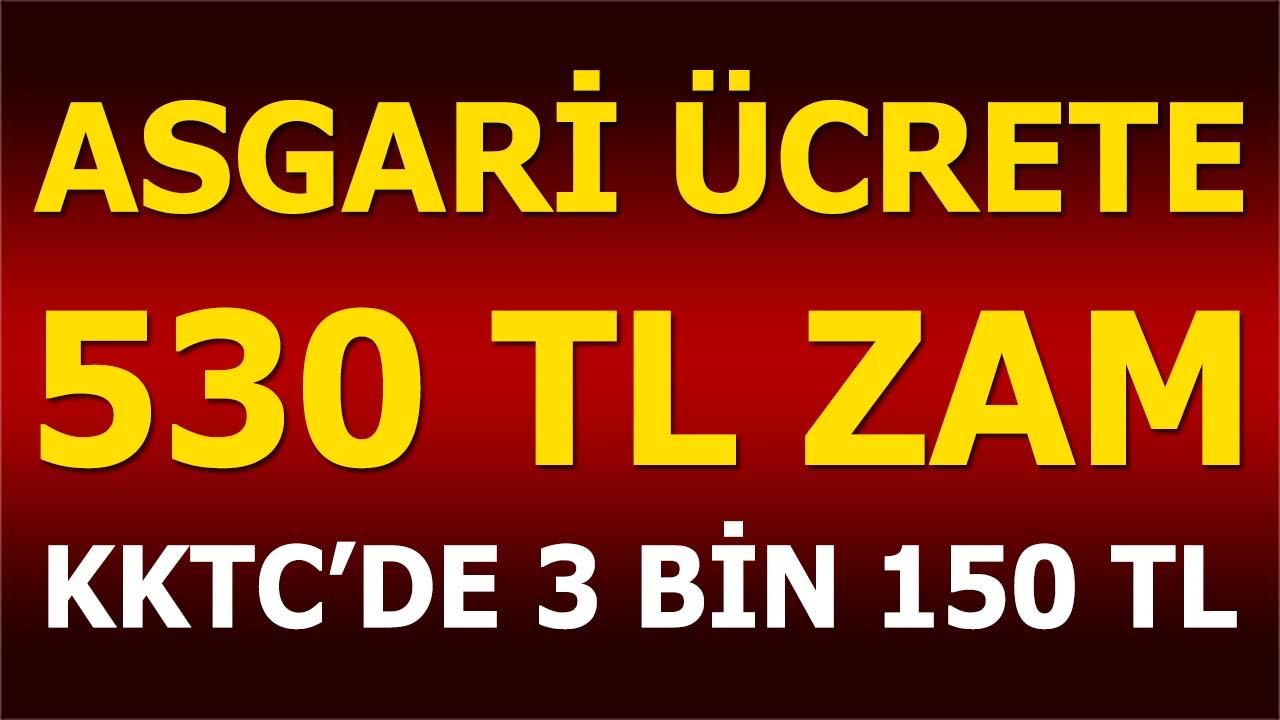 KKTC'de Asgari Ücrete 530 TL Zam