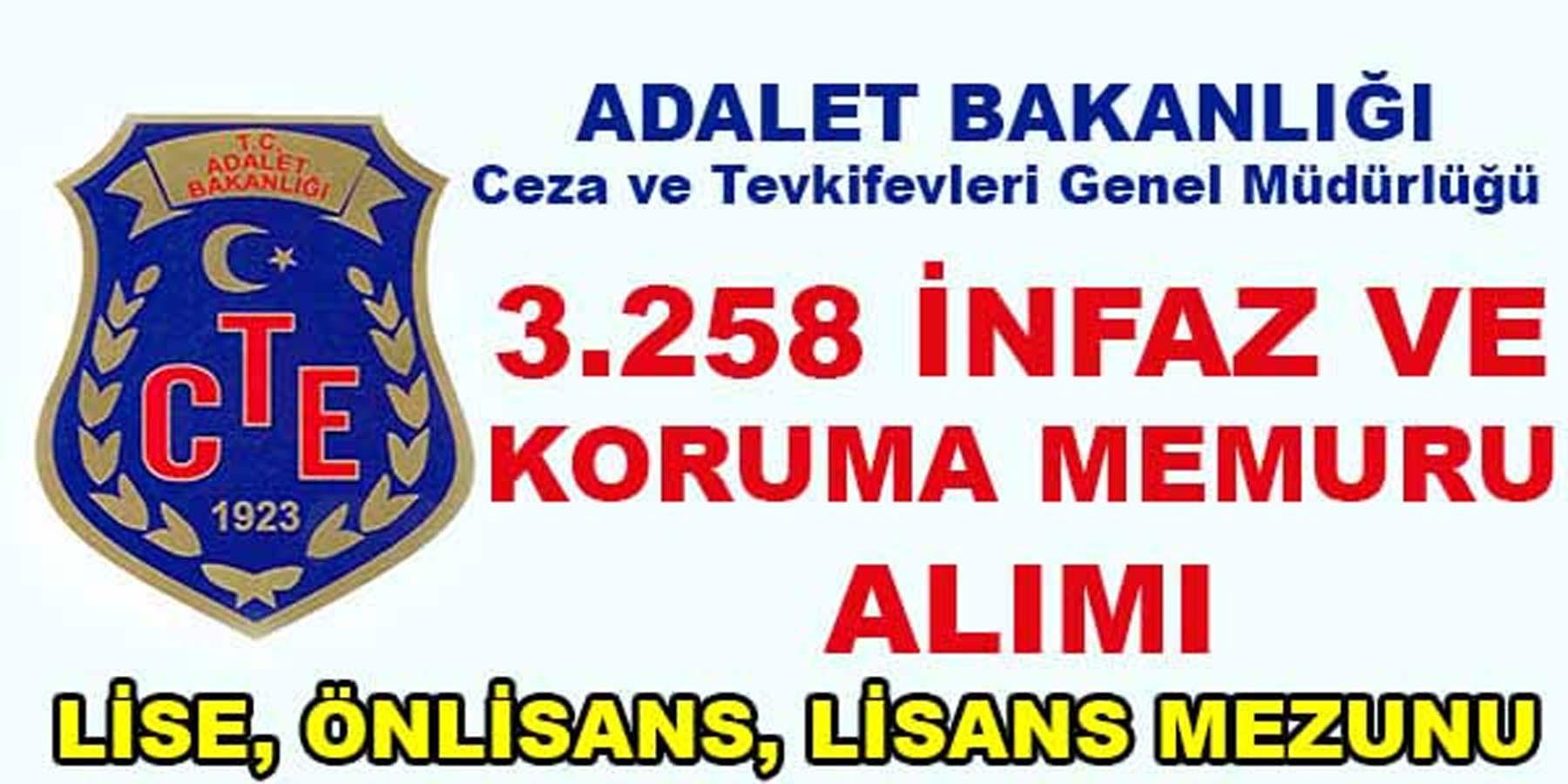 Adalet Bakanlığı 3258 İnfaz ve Koruma Memuru Alımı