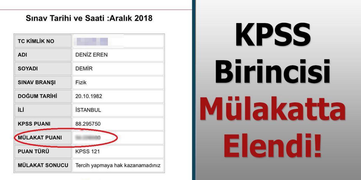 KPSS Birincisi Elendi!