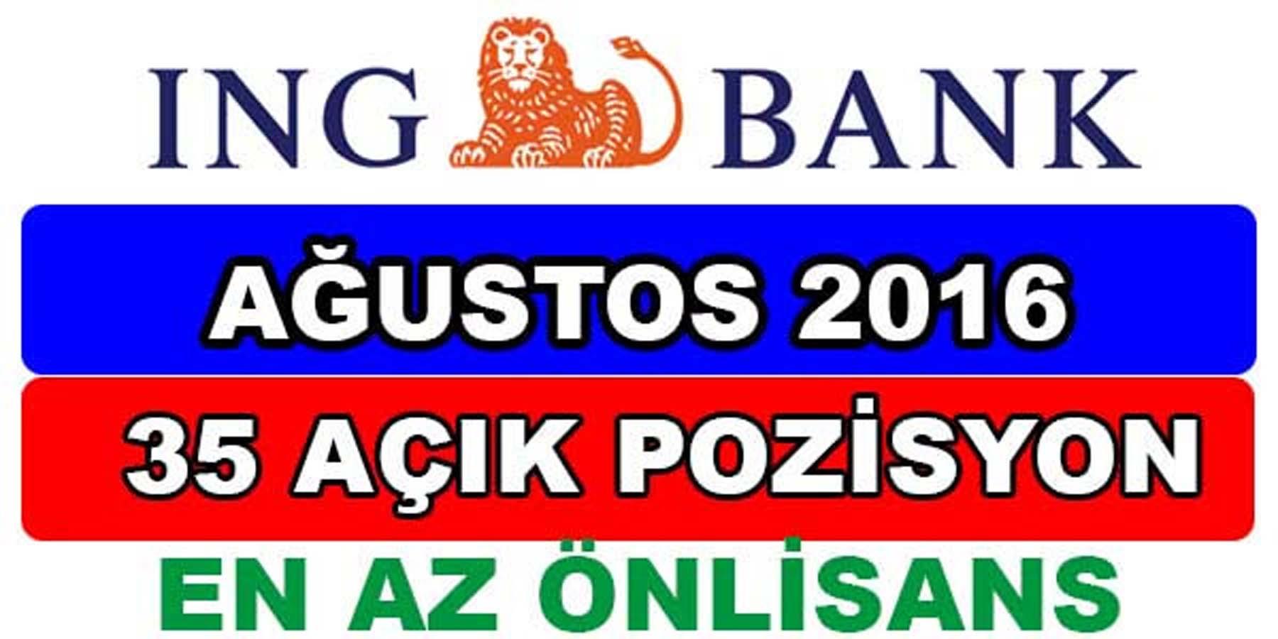 ING Bank Ağustos 2016 Personel Alımı