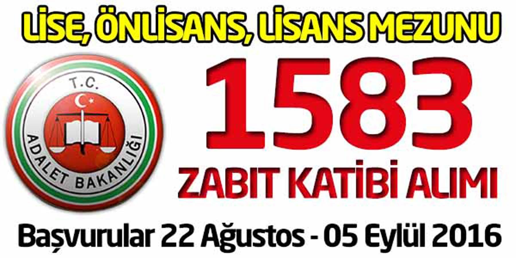 Adalet Bakanlığı 1583 Zabıt Katibi Alımı