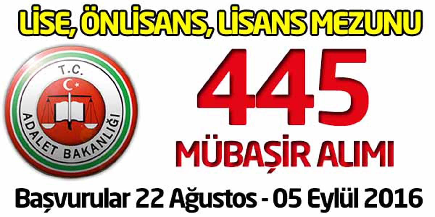 Adalet Bakanlığı 445 Mübaşir Alımı