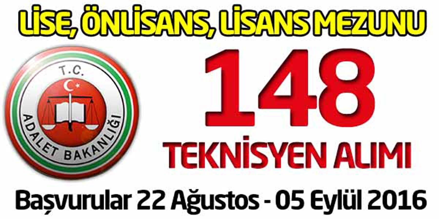 Adalet Bakanlığı 148 Teknisyen Alımı